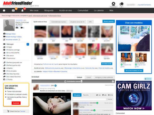Interfaz Adult FriendFinder