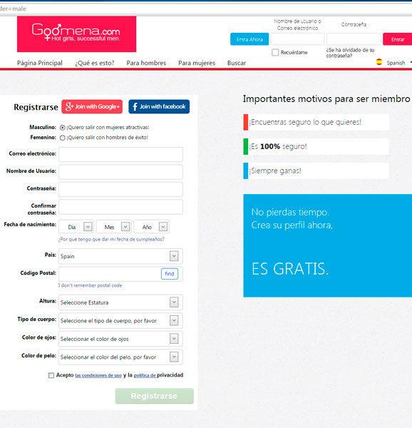 Formulario de registro en Goomena