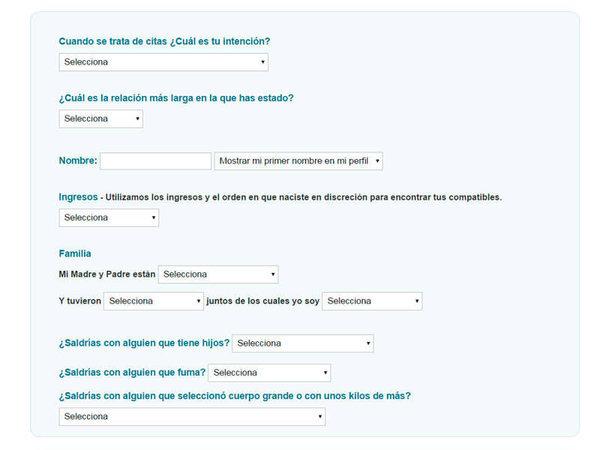 Cuestionario para el registro en POF