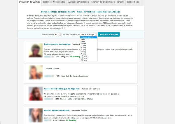 Usuarios sugeridos a través del test de Personalidad de PlentyOfFish