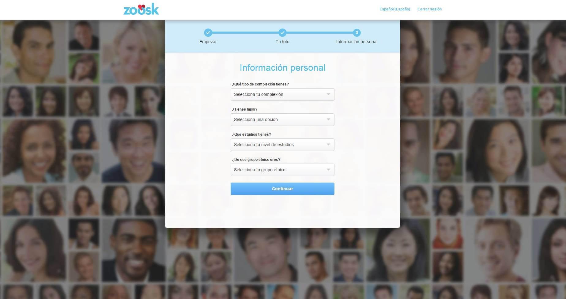 Registro en Zoosk