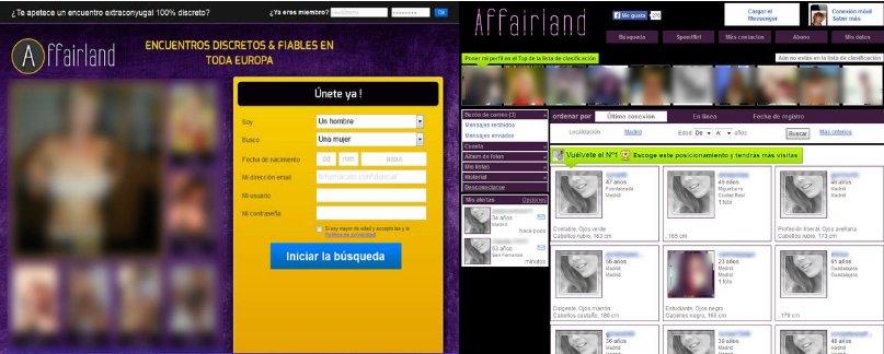 perfiles en affairland