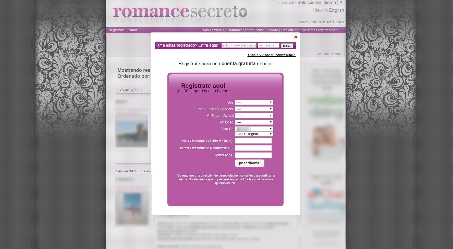 Registro en Romancesecreto